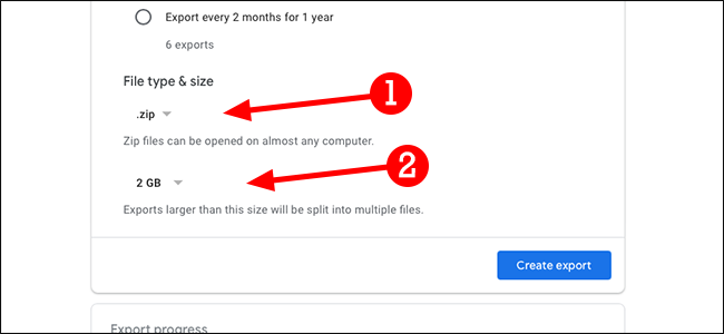 Google data export file type