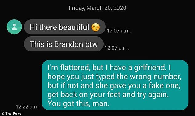 Another individual reassured the wrong number that sent them a text message that they would be able to find someone else