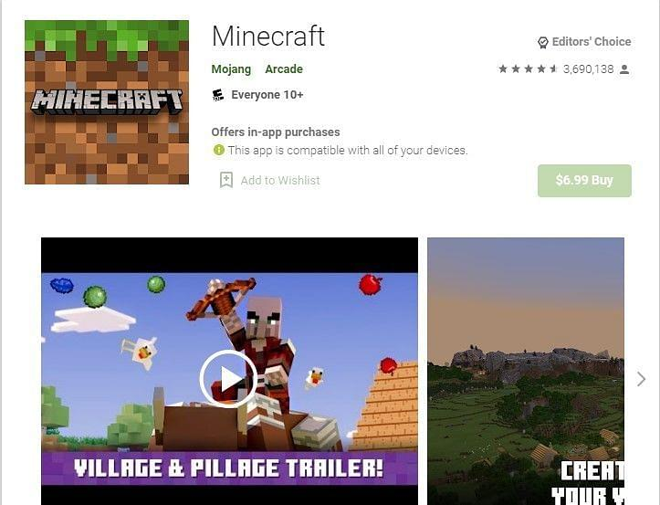 Google Play Store Minecraft