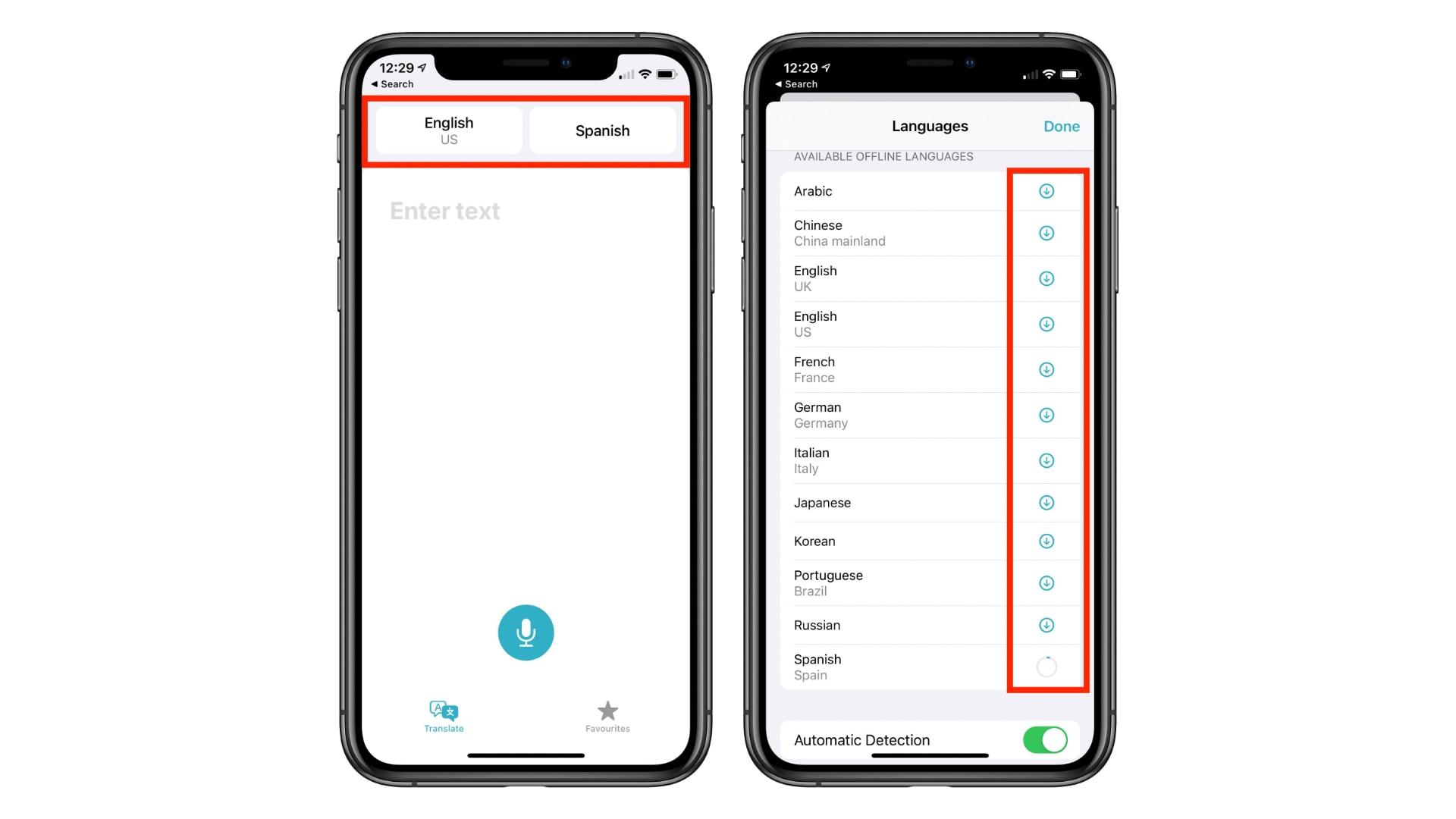 Download the language for offline use of the new translation app for iOS14