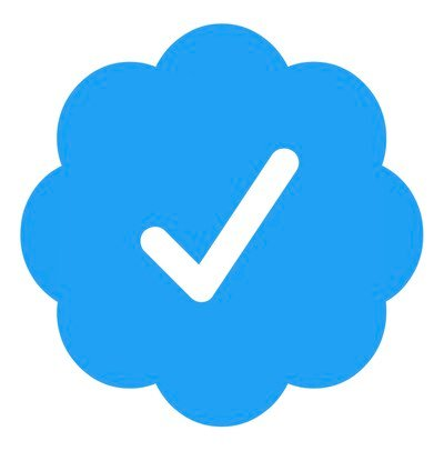 Twitter verification checkmark is embedded