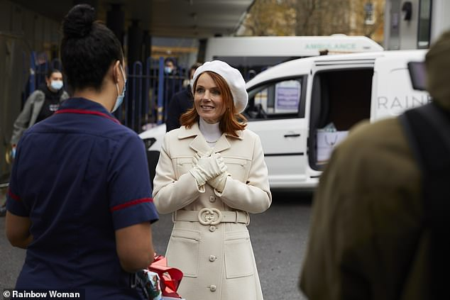 Sweet: Spice Girls star, 48, visited Wittington Hospital in London in early December to meet staff who worked hard during the coronavirus crisis.