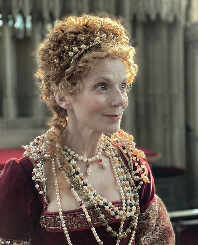 Makeover: In the first episode of Rainbow Woman, Jeri was away from her usual appearance as she wore a brilliant red gown and wig to transform into Elizabeth I.