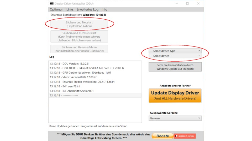 This is what the Display Driver Uninstaller menu looks like.  We have marked the important areas for you.