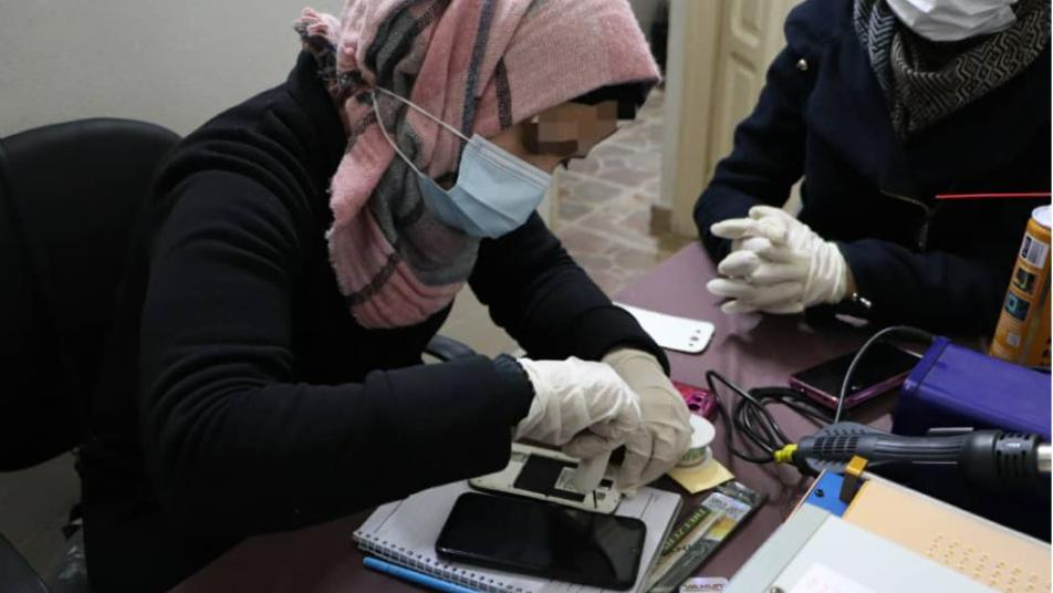 For the first time, dozens of women are being trained to hold mobile phones in Idlib