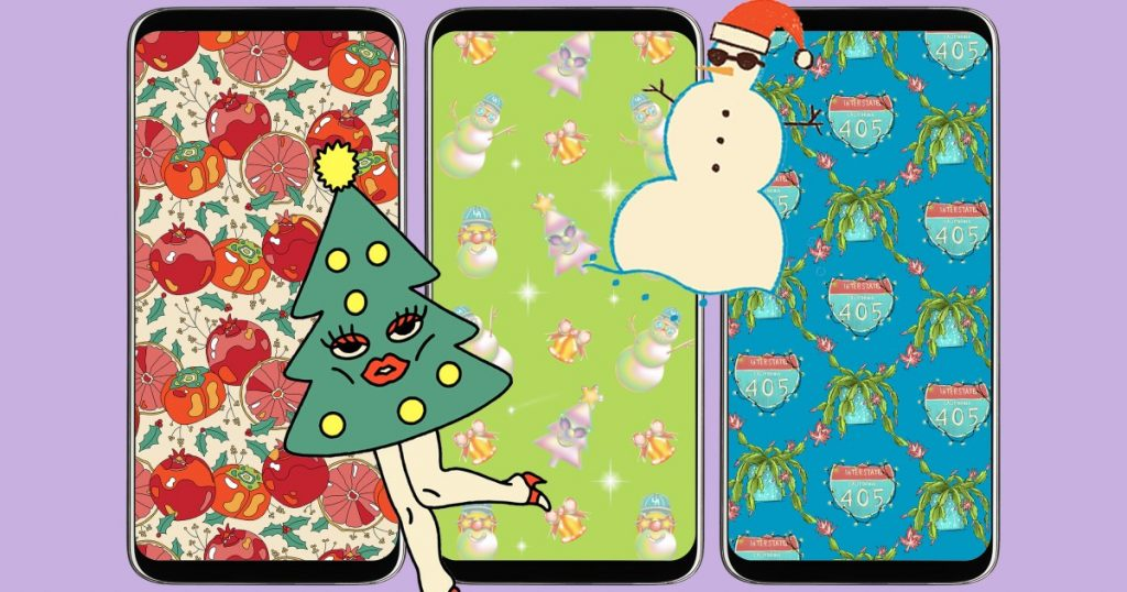 To download: Festive phone, zoom background by LA artist
