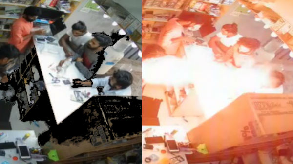Cell phone battery exploded in cell phone store: Is disinfectant the cause?  |  Battery explodes while cell phone is being repaired at Chennai Porur Mobile Shop!