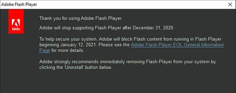 Goodbye Adobe Flash Player Tool for video and games