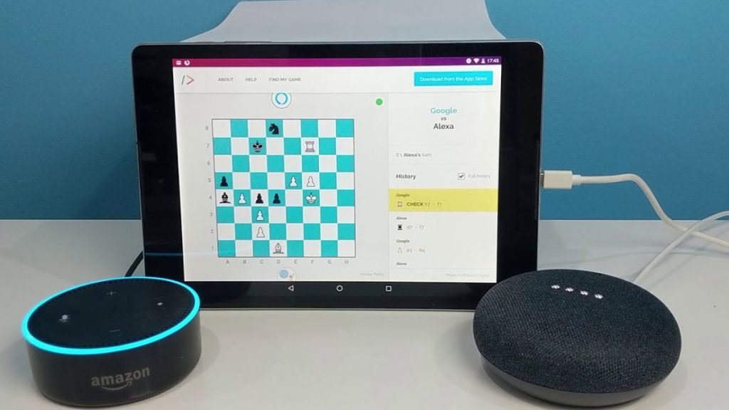 Alexa and the Google Assistant play a game of chess.  The result is regrettable
