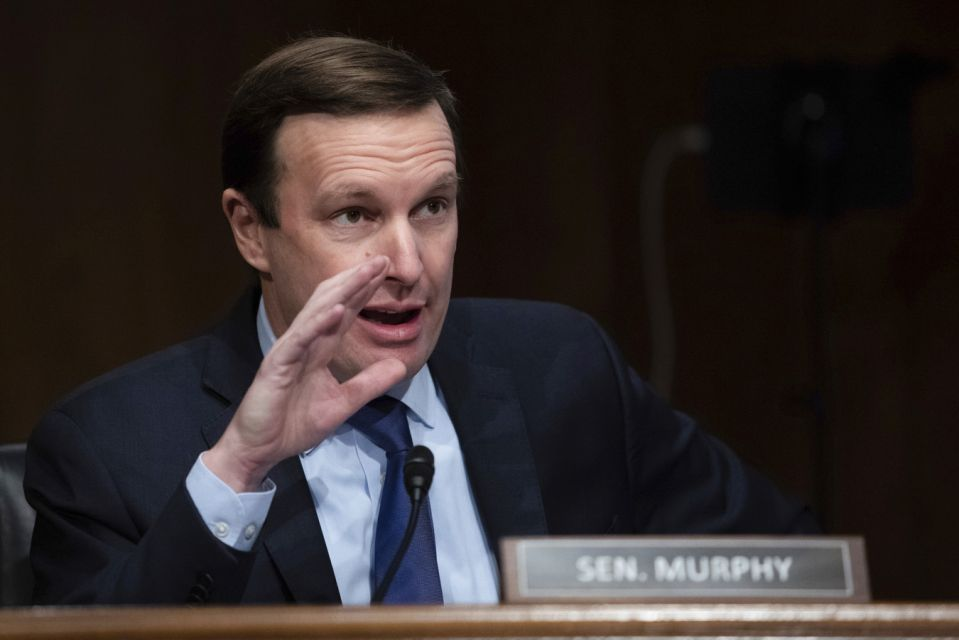 Senator Chris Murphy of Connecticut spoke at a hearing of the Senate Health Education and Labor Pensions Commission on Thursday, February 4, 2021 about the appointment of Boston Mayor Marty Walsh as Secretary of Labor at Capitol Hill. ..  (Pool via GraemeJennings / AP)