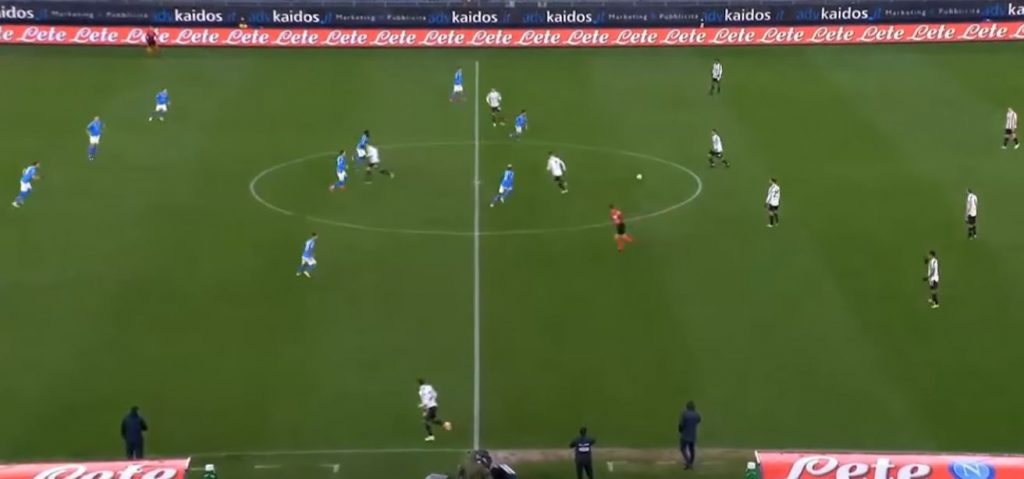 Juventus 1-0.  Insigne's goal from a penalty