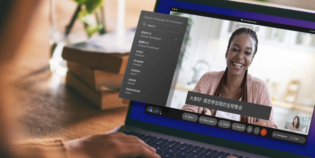 Cisco Webex translates in more than 100 languages ​​in real time