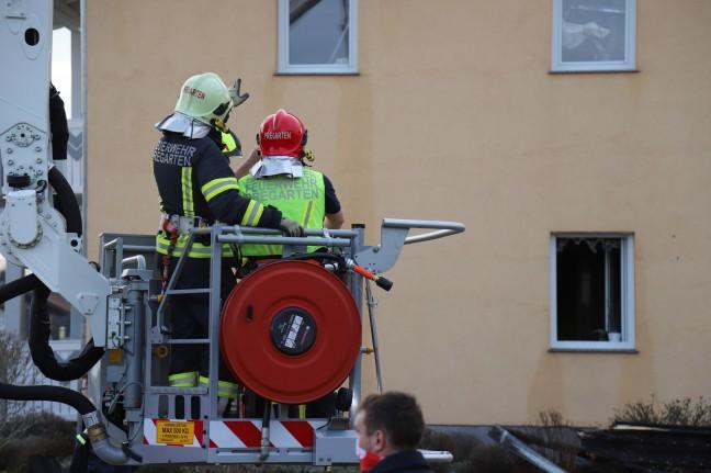 Nine fire brigades in action on a house fire in Pregarten