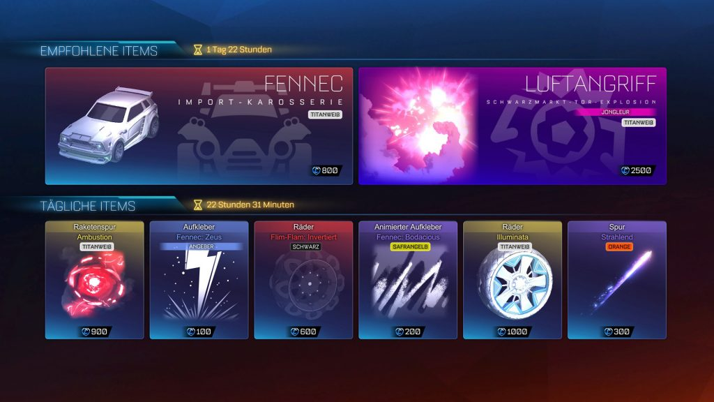 fennec titanweiss shop rocket league