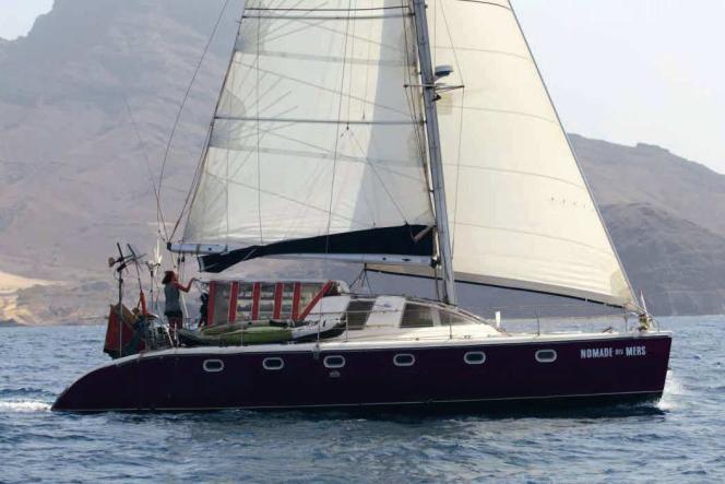 """The """"Nomade des mers"""", Corentin de Chatelperron's """"low-tech"""" catamaran."""