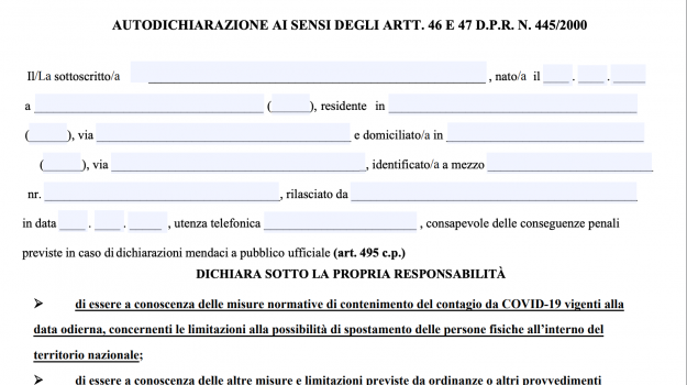 Transfers at Easter, self-certification is required: download the form in pdf
