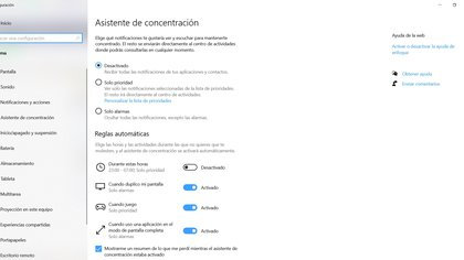 Concentration Assistant in Windows 10
