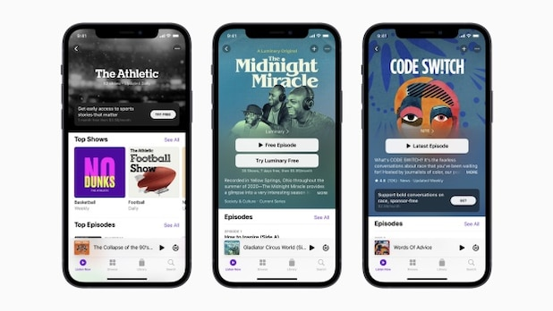 Apple introduces paid subscriptions for podcasts.