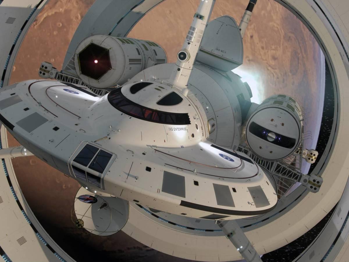 Photo: Spaceship concept with 'warp drive'.  (Mark Rademaker)