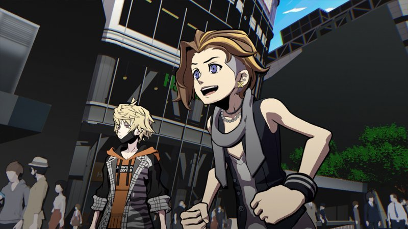 NEO: The World Ends with You, two of the protagonists who struggle with an unexpected event.