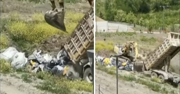 Energy: Truck dumps garbage on a city land.  Seized area, open investigation file