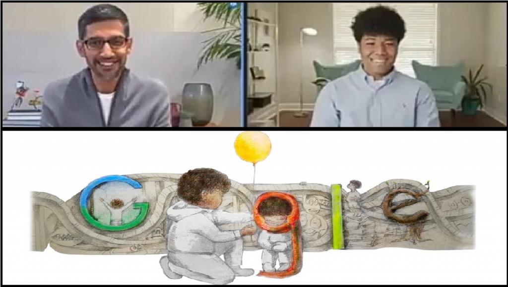 google ceo sundar pichai surprised google doodle winner milo golding    When Google CEO himself gives a beautiful pichai surprise!