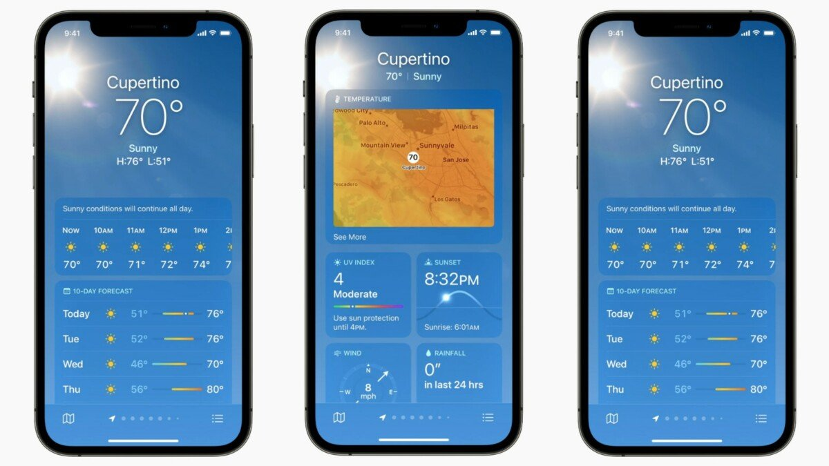 The new Weather app shows much more details than the old one