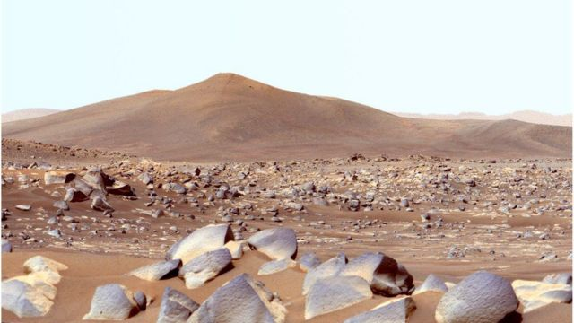 The surface of Mars is cold, dry, and radiant.