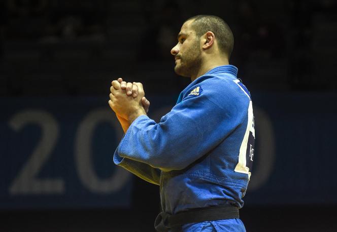 Georgian Guram Tushishvili, a possible challenger for Teddy Riner at the Tokyo Olympics, during the European Judo Championships in Prague on November 21, 2020.