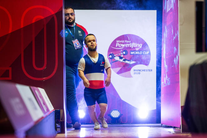 Axel Bourlon at the Paralympic Weightlifting World Cup in Manchester in February 2020.