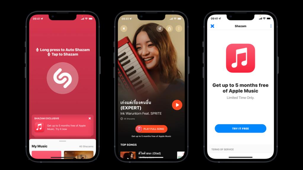 ฉลองรับสิ้นปี! Apple ใจดีแจกสิทธิ์ผู้ใช้ Shazam ฟังเพลงบน Apple Music ฟรีสูงสุด 5 เดือน