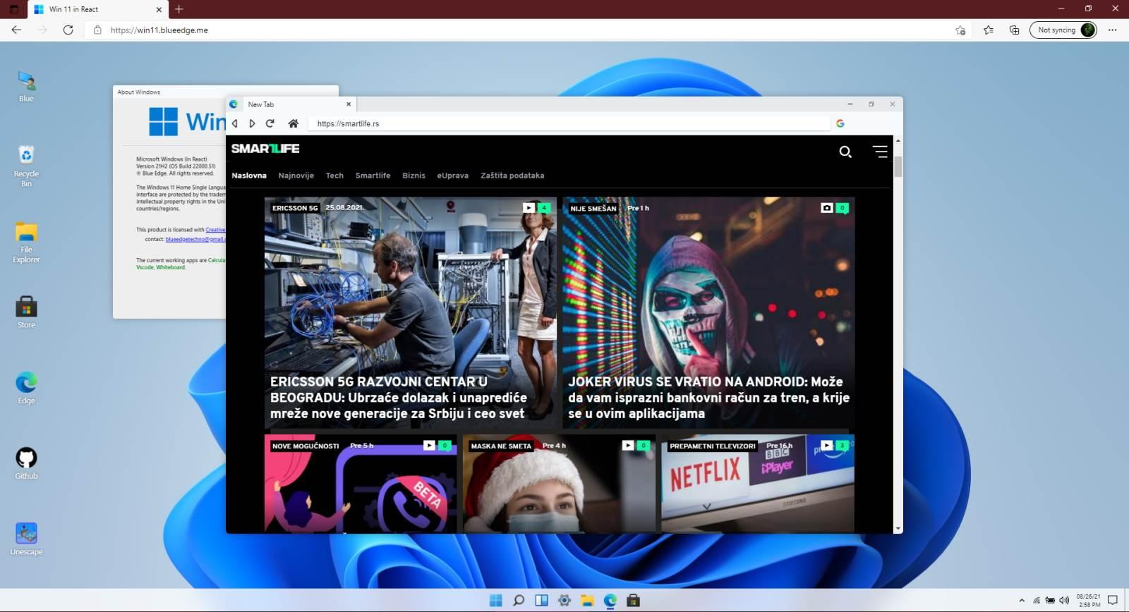 Windows 11 Edge Browser - SmartLife / Blue Edge / Printscreen