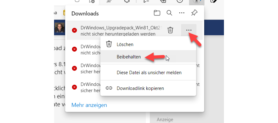 Unblock Blocked HTTP Download in Edge - Step 1