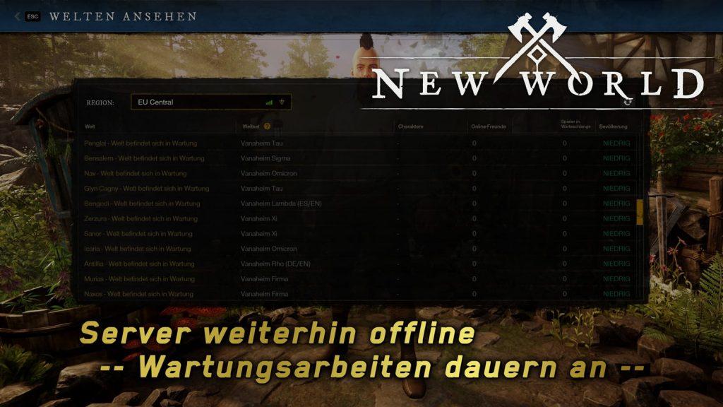 new world wartungsarbeiten